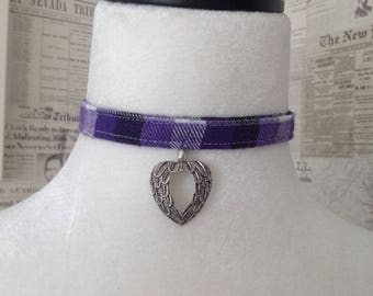Purple plaid choker with leather ties and Angel wing heart pendant.