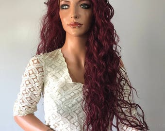"""Red Long Wavy Multi 2"""" Deep Parting lace front wig 26' Evanesce"""