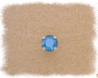 Necklace azure blue Ras thread Nylon & neck Strass Swarovski Crystal