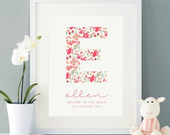 Personalised new baby print - Welcome to the world, New baby, Baby Girl, Christening gift, Keepsake, New baby gift, Nursery print, Vintage