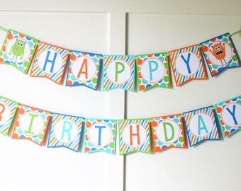 Monster Birthday Banner - Little Monster Birthday Decorations Fully Assembled - Monster Bash Birthday Party Banner