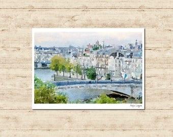 Notre Dame Cathedral Paris France Watercolour Painting Postcard Poster Art Print Q262