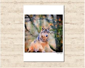 Dog Animal Watercolour Painting Postcard Poster Art Print Q108