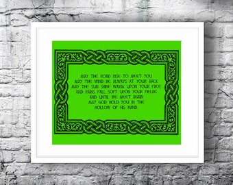 St Patricks Day Printable Wall Art.  Inspirational Print Instant Download.  Irish Blessing Home Decor.  St Pattys Day Greenery