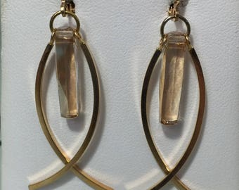 Gold Dangle Ichthus Earrings
