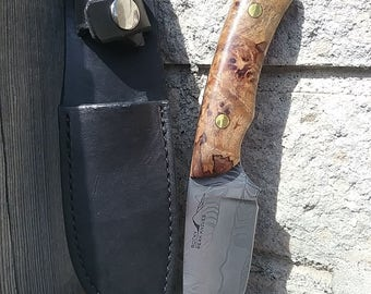 Handmade Damascus knife with Spalted Maple handle
