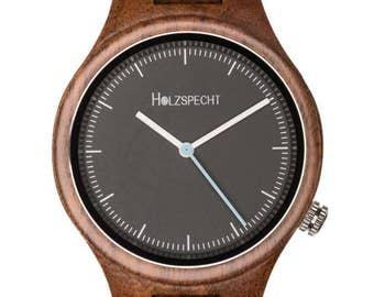 Wooden Woodpecker wood clock Walnut - Swiss movement