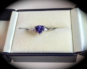 """Tanzanite Ring 9ct White Gold Size R 1/2  """"Certified AA/AAA"""" - Beautiful Colour!"""