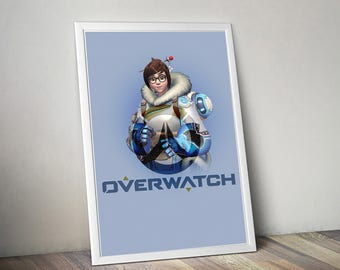 Overwatch MEI Poster, Game Poster, Flat Print Design, Digital Printable Poster, Blizzard wall art, Instant Download, game art