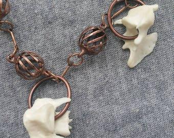 Skunk Vertebrae Dangle Copper Bracelet