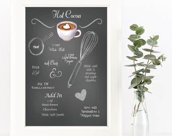 Chalkboard Recipe Art Print-Printable-Hot Cocoa Recipe-Kitchen Art-Instant Download