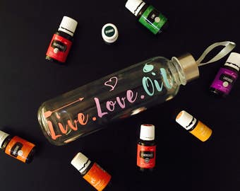 PERSONALIZED | 18oz. GLASS Water Bottle with Carry Strap| Perfect for drinking EO's