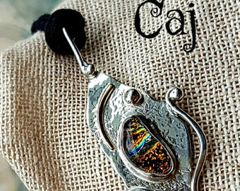 Sterling Silver Artisan Pendant with Dichroic Cab