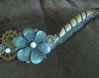 Steampunk Feather Barrette