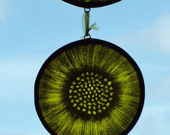 Stained Glass Sunflower Window Hanging