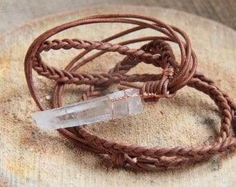 Clear Quartz Point braided leather necklace
