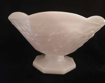 Vintage MILK GLASS Pedestal Bowl Compote (Large)