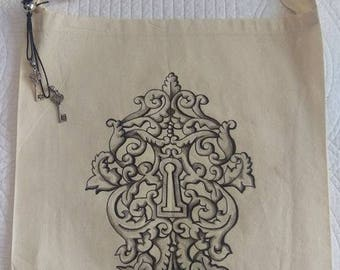 hand painted key and lock tote bag