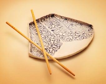 Ceramic sushi plate by YanaKerama, handmade ceramic plate, small ceramic plate, sushi plate, snack plate, kitchen decor