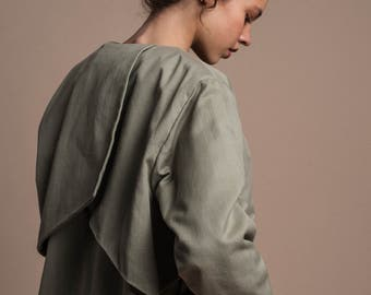 JALI paneled denim jacket in organic cotton /olive green /free shipping
