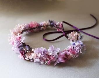 Couronne Violette vraies fleurs stabilisées