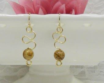 Wire wrapped PICTURE JASPER earrings,Gemstone earrings,Wire wrapped earrings,Leverback,Clip on,Gemstone healing,Gemstone jewelry