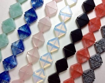 Multiple Gemstone, Isosceles Triangle bead, 13x17mm, thick 5mm, 1mm hole, one strand