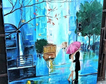 Oil painting. Romantic painting. Two under an umbrella oil painting. He and she are in the rain.