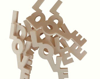 Wooden inscription Love cm H 7 x 3 L thickness 4 mm 5 pieces