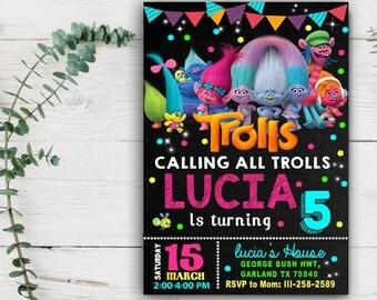 Trolls Birthday - Trolls Invitation - Trolls Birthday Invitation - Trolls Birthday Party - Trolls Party Invitation - Trolls Party Printables