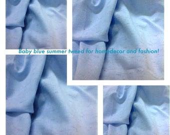 Baby Blue Tweed Twill Fabric, Tweed Sky Blue Fabric By The Yard