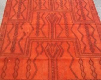 Oushak Rug,Vintage Turkish  Rug,Anatolıan Cıcım,Home Lıvıng, Orange Colors Kılım Rug,Vıntage Cıcım, 4'9''x6'10''Ft,