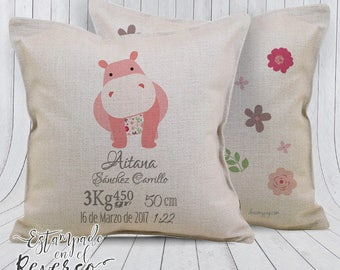 Baby cushion custom with the birth of the baby, personalized gifts, pad information data, decorative cushion child
