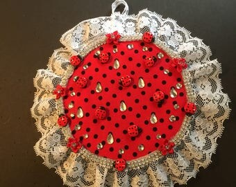 Ladybug and lace embroidery hoop wall hanging