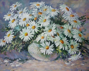 Oil painting, daisies, a bouquet in a vase, a small still-life, a kitchen decoration, white flowers, cardboard, 23x34cm Razumeyko Ekaterina