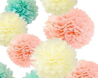 18pcs Mixed Ivory Peach Mint Party Tissue Pom Poms Flower Ball for Weddings Part Baby Showers Birthday Nursery Decoration
