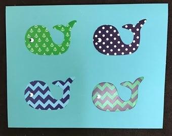 Blue/Green/Chevron/Polka Dot/Anchor  Pattern Whale Card