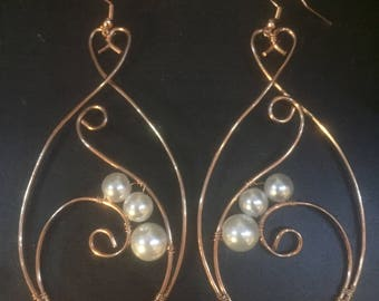 Acrylic Pearl and Wire Earrings
