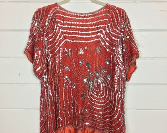 Vintage 1970s Red Silk & Sequin Blouse / Indian Silk / Silver Beading / Glam