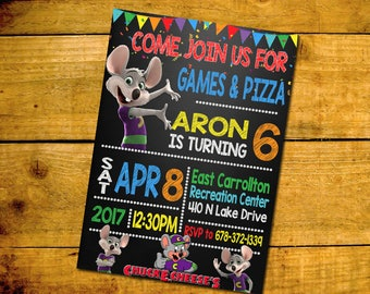 Chuck E. Cheese Birthday Invitation -Chuck E. Cheese Birthday Party Invitation -Chuck E. Cheese Printable Digital File-Pokemon Invitation