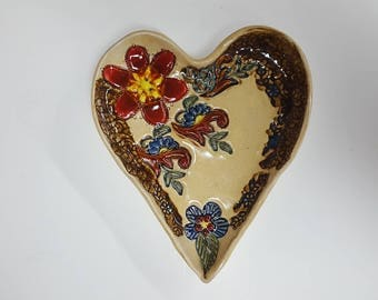 Ceramic hand made serving dish heart shaped great gift any occasion