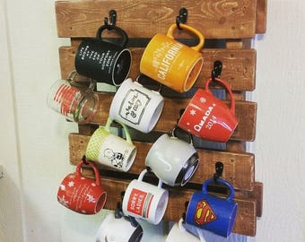 Rustic Wood Mug Rack