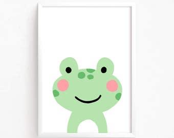 Sale 50% Off - baby Frog Poster  Cute Printable art animal poster illustration for baby room print nursery art Instant Download Digital file