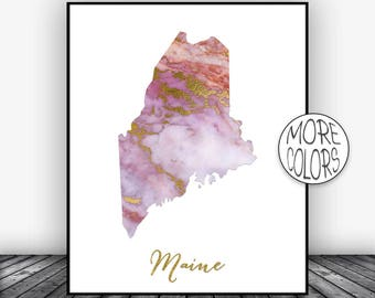 Maine Art Print Maine Decor Maine Print Maine Map Art Marble Art Map Print Map Wall Art Marble Decor Office Art Print ArtPrintsZoe