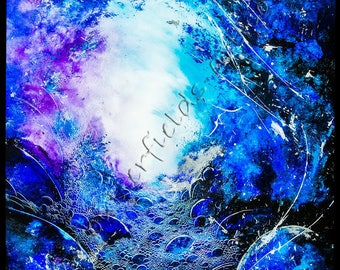 Abstract Cave Painting, Blue & Silver Fantasy Portal Art, Good Quality Giclee Print, Home Decor, Affordable Wall Art, Anthony Butterfield