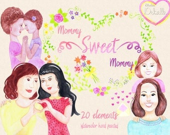 Mommy Sweet Mommy - watercolor handpainted clipart, mothers day illustration