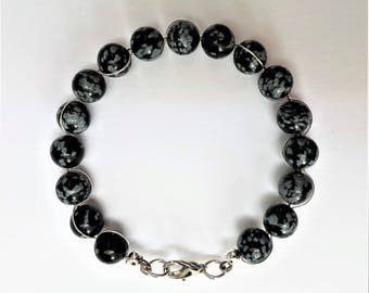 Black and white snowflake obsidian bead bracelet