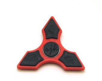 3D Printed Fidget Spinner (Red/Black)