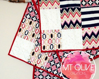 Pink & Purple Baby Quilt 100% Cotton