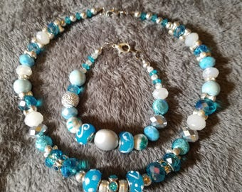 Sharp, sparkling turquoise and silver necklace and bracelet